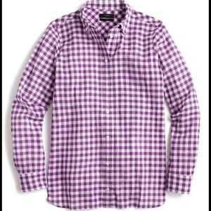 J. Crew Purple Ivory Crinkle Gingham Boy Shirt 4